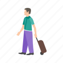 airport, baggage, lounge, luggage, people, travel, walking icon