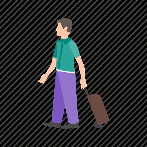 Walking, luggage, travel, people, lounge, baggage, airport icon