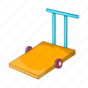 airport, baggage, cart, cartoon, luggage, transport, transportation icon