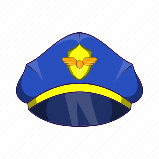 aircraft, airplane, captain, cartoon, hat, pilot, uniform icon