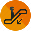 airport, arrow, down, downwards, escalator, sign icon