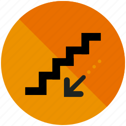 airport, arrow, down, downwards, sign, stairs icon