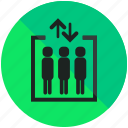 airport, arrow, down, elevator, sign, up icon