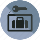 baggage, key, lock, luggage, security, up icon