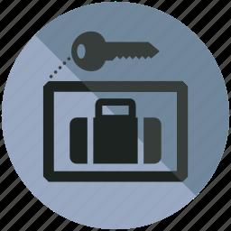 baggage, key, lock, luggage, security, up icon