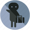 airport, baggage, luggage, people, person, pickup, sign icon
