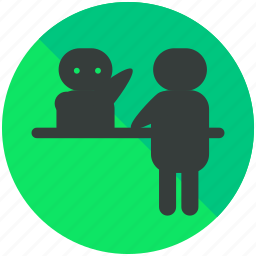 airport, assistance, desk, help, reception icon