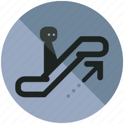 airport, arrow, escalator, sign, up, upwards icon