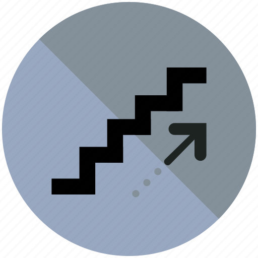 airport, arrow, sign, stairs, up, upwards icon