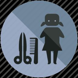 comb, girl, hairdresser, scissor, sign, stylist, women icon