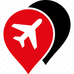 airport, location, map markers, marker, pin, place, pointer icon