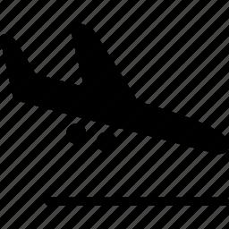 air plane, aircraft, arrival, arrive, descend, descending airplane, landing icon