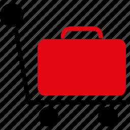 bag, baggage, cart, case, luggage, transportation, trolley icon