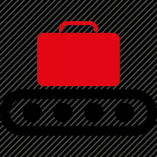 bag, baggage conveyor, briefcase, case, luggage transportation, registration, transport icon