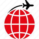 airplane, globe, international flight, plane, transportation, travel, world icon