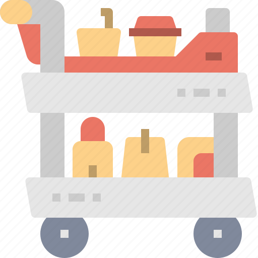 airport, carry, drink, food, service, snack, trolley icon