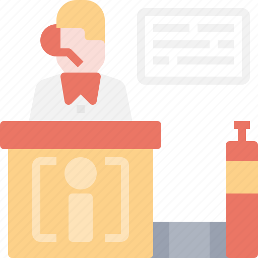 booking, check, counter, customer, flight, in, service icon