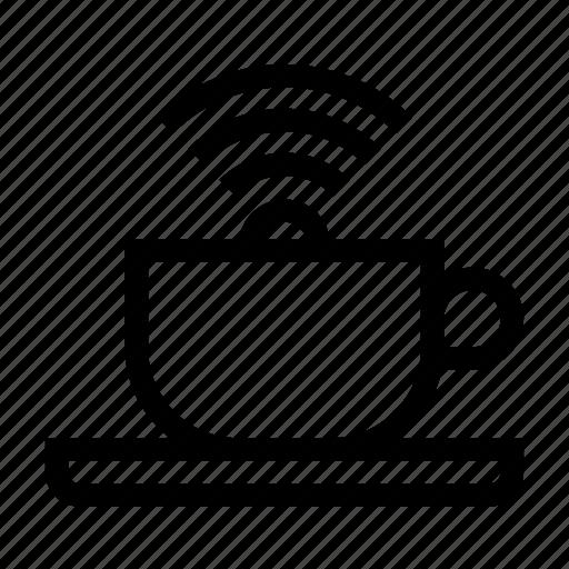 cafe, coffee, cup, fi, wi, wifi icon