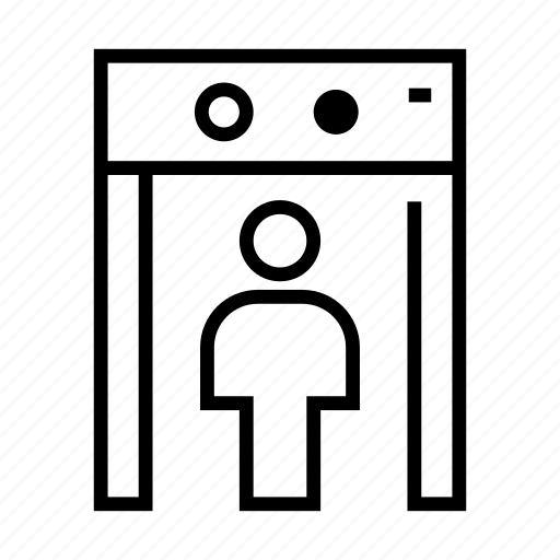 airport, inspection, metal detector, security icon