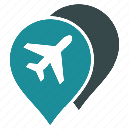 airport, location, map pointers, markers, navigate, navigation, travel icon