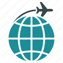 flight, global, globe, international, transportation, travel, world icon