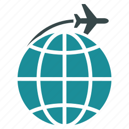 flight, global, globe, international, transportation, travel, world icon