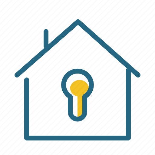 home, keyhole, lock, safety icon
