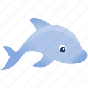 blue, dolphin, fish, gry, wild icon