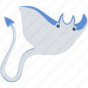 animal, blue, gray, ocean, sea, stingray icon