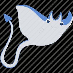 animal, blue, gray, ocean, sea, stingray icon