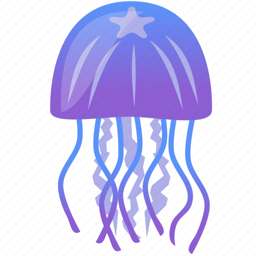 blue, jellyfish, purple, wild icon