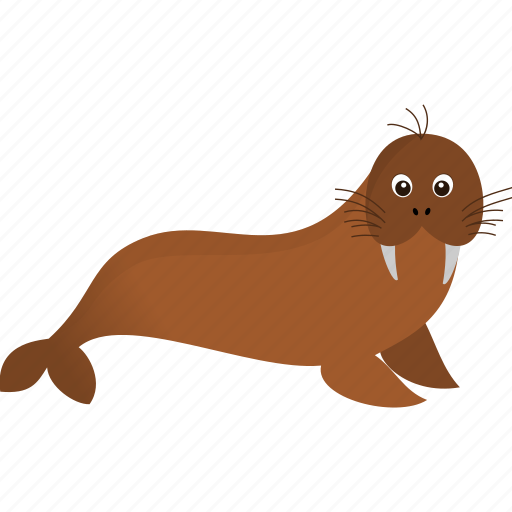 brown, walrus, wild icon