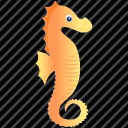 oranje, sea horse, wild icon