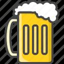 alcohol, beer, beverage, filled, food, glass, outline icon