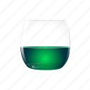 absinthe, alcohol, drink, full, green, half icon