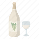 alcohol, bottle, drink, glass, white, wine, beverage