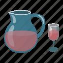 alcohol, beverage, bottle, drink, glass, jug, wine icon