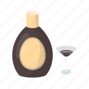 alcohol, beverage, bottle, chocolate liqueur, drink, glass icon
