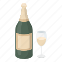 alcohol, beverage, bottle, champagne, drink, glass, wine icon