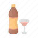 alcohol, beverage, bottle, drink, glass, vermouth, wine icon