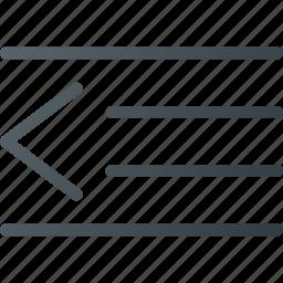 detent, line, out, paragraph icon