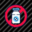 allergy, drug, medicament, prohibition, symptom, tablets icon