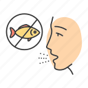 allergic, allergy, disease, fish, immune system, seafood, sensitivity icon