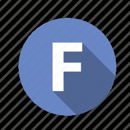abc, alphabet, f, font, graphic, language, letter, text icon