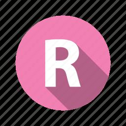 abc, alphabet, font, graphic, language, letter, r, text icon