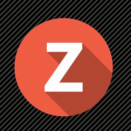 abc, alphabet, font, graphic, language, letter, text, z icon