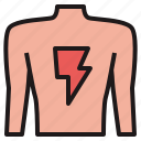 back, hurt, injure, muscle, pain icon