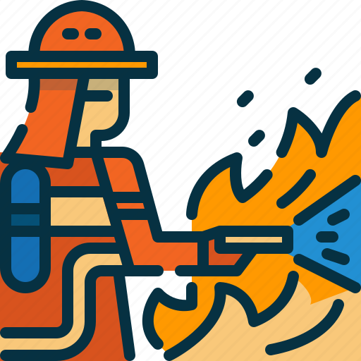 extinguish, fire, firefighter, firefighting, man, person, wildfire icon