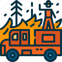 extinguish, firefighter, firefighting, man, person, truck, wildfire icon