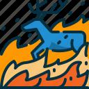 animal, burn, deer, disaster, wild, wildfire, wildlife icon